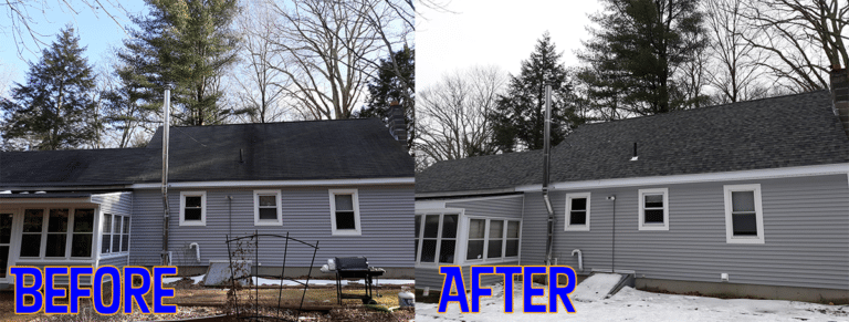 Woodstock Connecticut New Roof Replacement Before and After